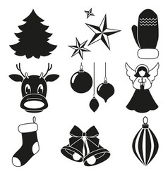 black and white 9 xmas elements set vector image