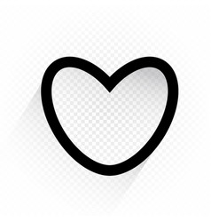 black color outline heart sign vector image