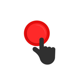 Black hand pushing on red button vector