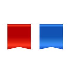 Blue and red bookmark banner 3d set vertical vector