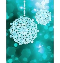 Blue snowflake over bokeh background EPS 8 vector image