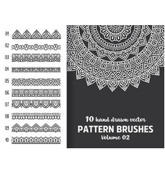 brush collection with mandala vector image