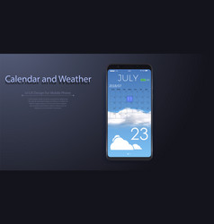 calendar weather app ui design for mobile phone vector image
