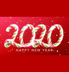 Candy in form 2020 happy new year banner vector