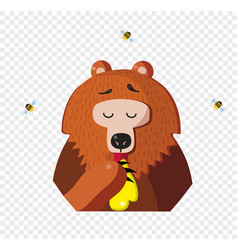cartoon bear eat honey from a paw isolated on vector image