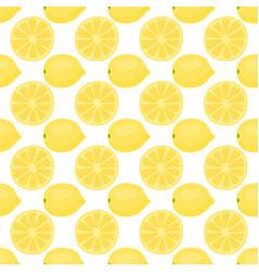 Cartoon fresh lemon fruits in flat style seamless vector