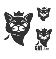 Cat head icon with crown isolated on white vector