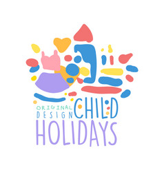 Child holidays logo design colorful hand drawn vector