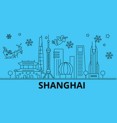 china shanghai winter holidays skyline merry vector image
