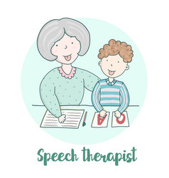 Classes with speech therapist staging sounds vector