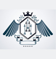 Classy emblem made with eagle wings decoration vector