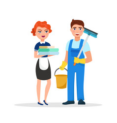 cleaning service staff smiling cartoon characters vector image