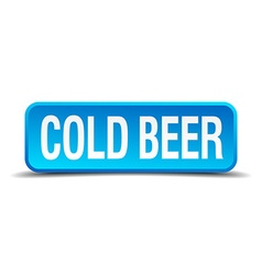 Cold beer blue 3d realistic square isolated button vector