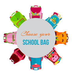colored school backpacks in circle vector image