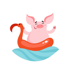 Cute cartoon pig character with rubber flamingo vector