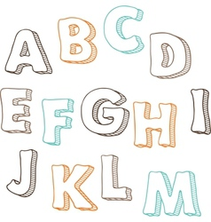 Cute hand drawn font letters set A-M vector