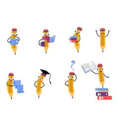 Cute pencil character set vector