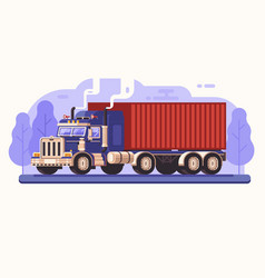 delivery cargo truck on road vector image