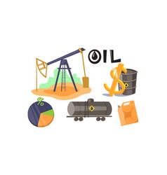 extraction and processing oil set production vector image