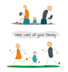 Family with gadgets and sport vector image