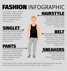 Fashion infographic with strong guy vector