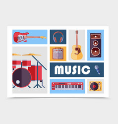 flat musical instruments set vector image