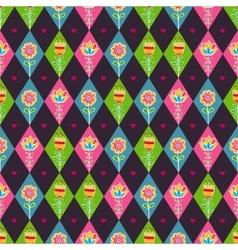 floral rhombus seamless pattern vector image