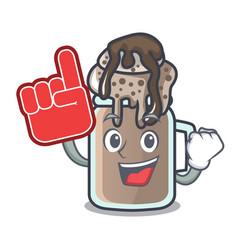 Foam finger milkshake mascot cartoon style vector