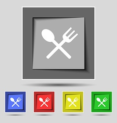 Fork and spoon crosswise Cutlery Eat icon sign on vector image