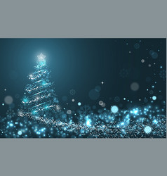 Glowing christmas tree with snowflakes on blue vector