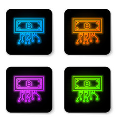 glowing neon cryptocurrency concept bitcoin in vector image