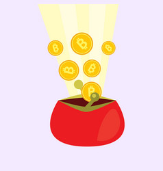 Golden bitcoins falling in the red wallet vector