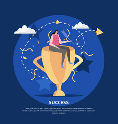 Golden cup success background vector