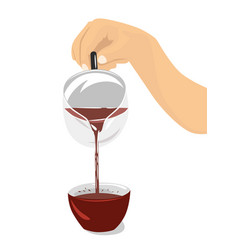 Hand pouring hibiscus tea from teapot into cup vector