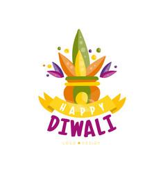Happy diwali colorful logo design festival of vector