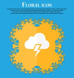 Heavy thunderstorm icon Floral flat design on a vector