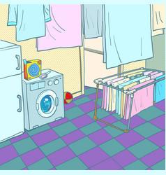 home washing and drying washing machine vector image