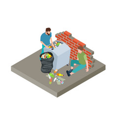 homeless people poor people in trash vector image