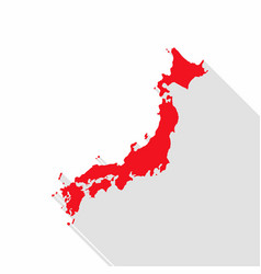 japan map with long shadow on white background vector image