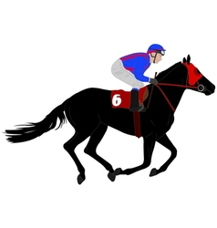 Jockey riding race horse vector