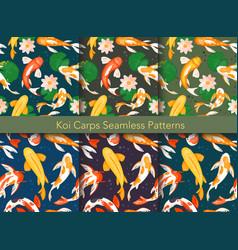 koi carp fishes seamless pattern vector image