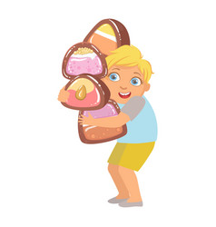 Little boy carrying big heavy candies a colorful vector