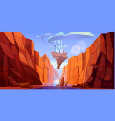 magic blue castle flying above river in canyon vector image