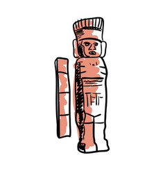 Mayan statue hand drawn icon vector