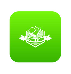 Meat good food icon green vector