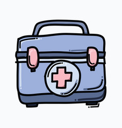 medical bag doodle color icon drawing sketch hand vector image