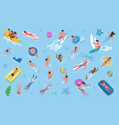 men and women swimming in water summer recreation vector image
