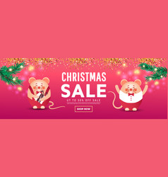 merry christmas sale banner with cute rats or vector image