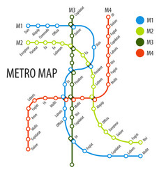 metro map subway scheme vector image