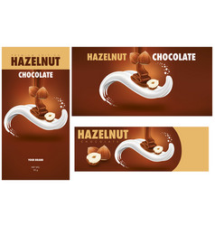 Milk tongue chocolate hazelnut package vector